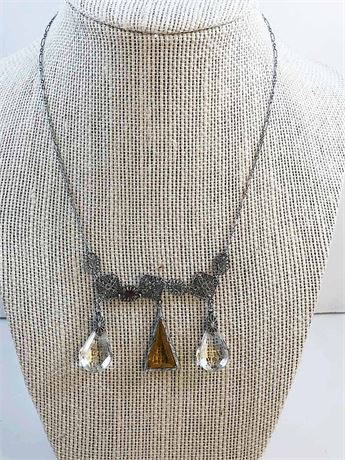 Amber & Clear Gem Necklace