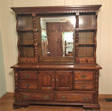 Antique Mirrored Dresser & Hutch