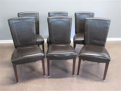 6 Dark Brown Arhaus Dining Chairs