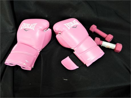 Pair of Two Everlast Protex 2 Pink Boxing Gloves