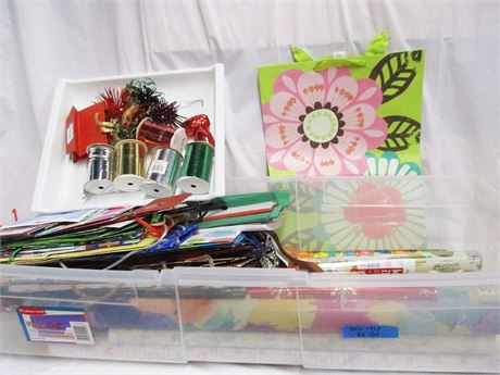LOT OF GIFT WRAP ESSENTIALS (INCLUDES GIFT WRAP STORAGE)