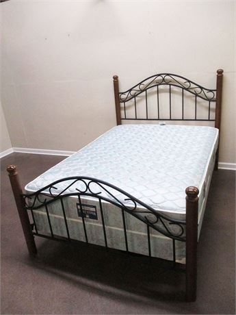 FULL WROUGHT IRON AND CHERRY FINISH BED (COMPLETE)