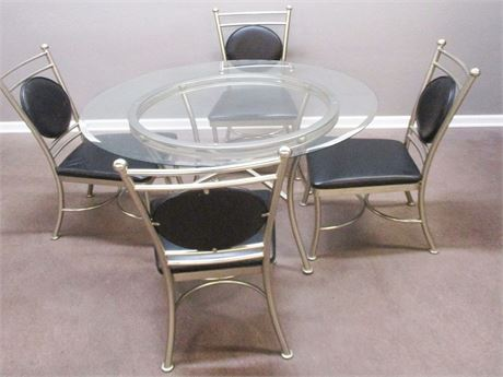 GLASS DINETTE AND 4 CHAIRS