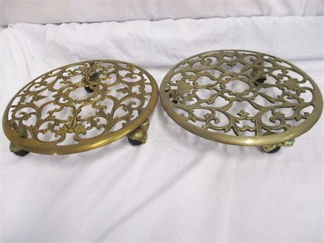 LOT OF 2 BRASS ROLLING PLANT CADDIES
