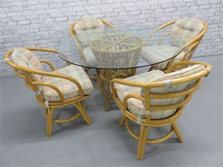 Rattan Glass Dinette Set
