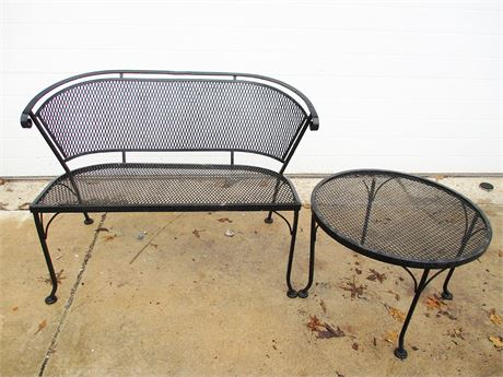 WROUGHT IRON LOVESEAT AND TABLE