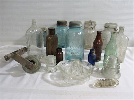 17 Piece Antique/Vintage Glass Lot