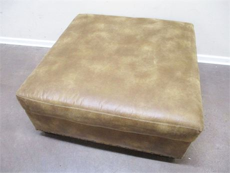 LARGE SUEDED LEATHER COCKTAIL OTTOMAN WITH NAILHEAD TRIM