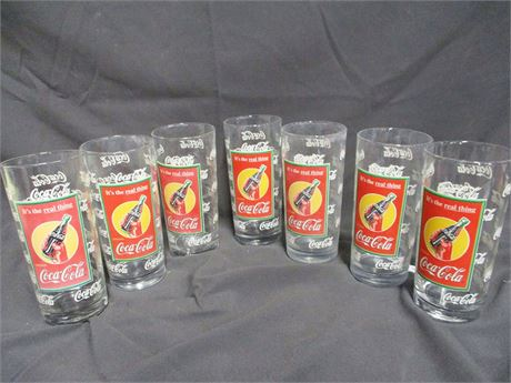 """LOT OF COCA-COLA """"IT'S THE REAL THING"""" GLASSES"""