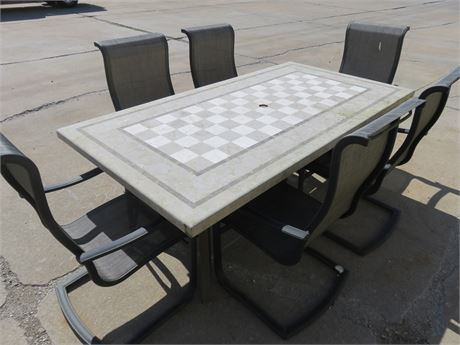 Mosaic/Checker Tile Top Patio Dining Set