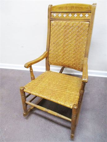 VINTAGE HERRINGBONE CANED ROCKING CHAIR
