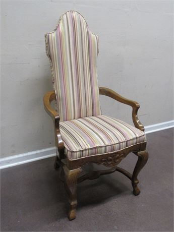 VINTAGE UPHOLSTERED WOOD ARM SIDE CHAIR