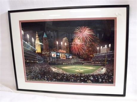 FRAMED AND MATTED PHOTO OF JACOBS FIELD BY MORT TUCKER