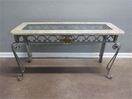Sofa/Console Table - Marble and Beveled Glass Top with Metal Legs/Frame