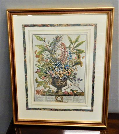 Botanical Floral Calendar Page Framed