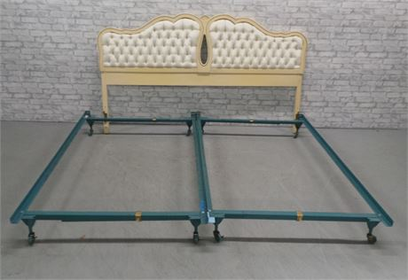 King Sized French Provincial Tufted Head Board with Bed Frame