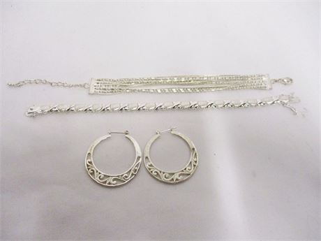 LOT OF SILVERTONE JEWELRY, SOME MARKED STERLING