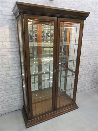 Lighted Leaded Glass Curio Cabinet
