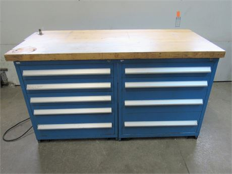 3 Piece Large Heavy Duty Work Bench with 2 Storage Cabinets