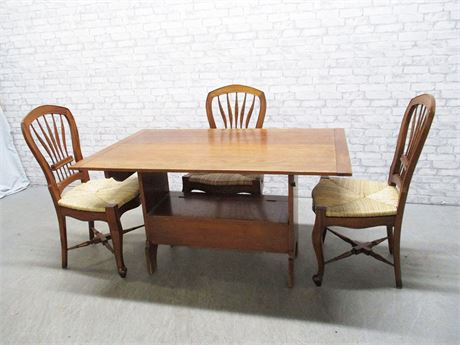 TABLE WITH BENCH STORAGE AND 3 RUSH SEAT CHAIRS