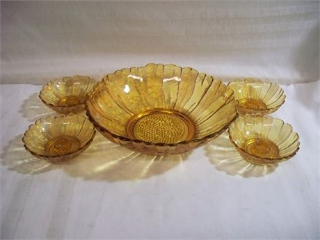 5 PIECE VINTAGE MID CENTURY AMBER INDIANA GLASS LOT
