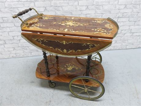 Vintage English Drop Leaf Tea Cart