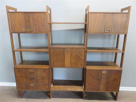 Mid-Century Modern Teak Bookshelf Wall Unit