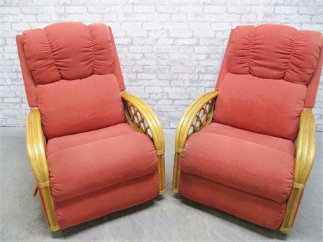 PAIR OF LA-Z-BOY RATTAN RECLINERS