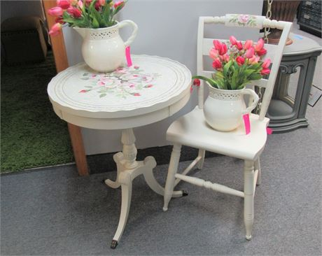 Small Artisanal Pedestal Side/Drum Table with Chair