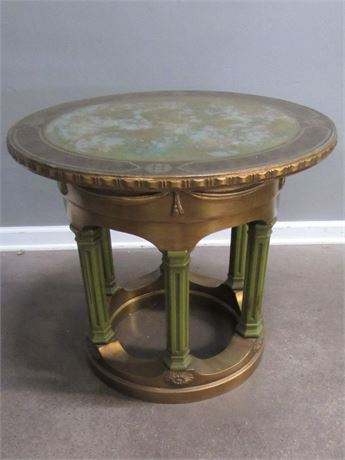 Vintage Ornate Gold Finished Side/End Table with Stenciled Top