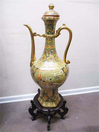 "LARGE (37"") ASIAN URN WITH LID AND STAND"