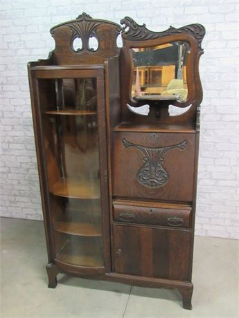 Antique Side by Side Secretary Desk with Beveled Mirror and Curved Glass Display