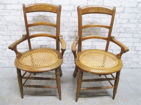 PAIR OF VINTAGE CANED CHAIRS