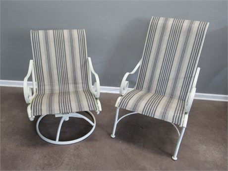 2 Metal Outdoor/Patio Chairs with Mesh Fabric