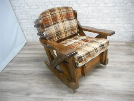 BY CORP. VINTAGE 1970'S RUSTIC FAMILY ROOM FURNITURE - ROCKER