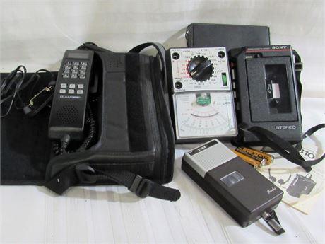 Vintage Electronics Lot including a Motorola Cellular One Mobile Phone