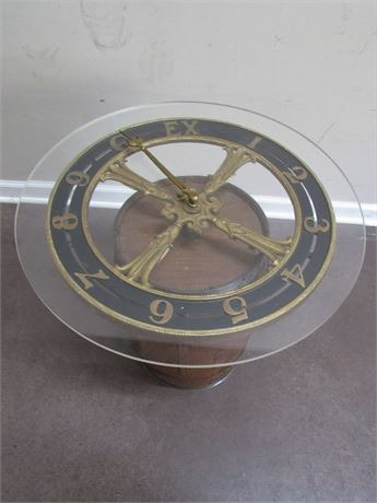 1 OF A KIND SIDE TABLE WITH VINTAGE ELEVATOR FLOOR INDICATOR