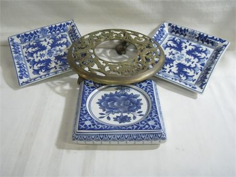 4 PIECE MISC. LOT - CERAMIC PLANTER BASE TRAYS AND BRASS CADDY