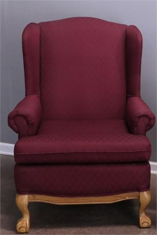 Burgundy Wing Back Chair with Claw Feet