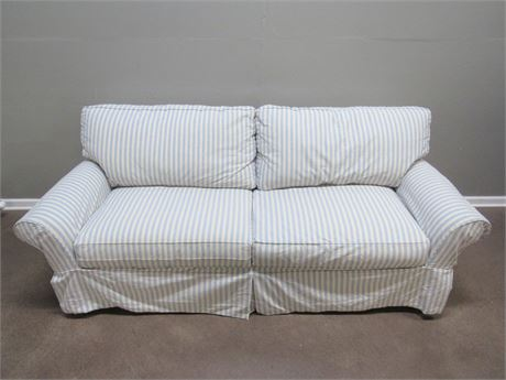 Striped Slip Covered Sofa with 2 Throw Pillows