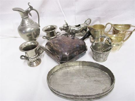 LOT OF SILVER PLATE AND PEWTER