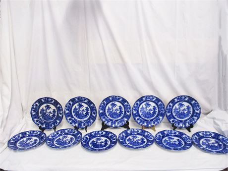 "LOT OF 11 WM ADAMS ""KYBER"" FLOW BLUE PLATES"