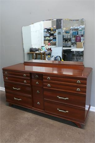 Kling Lacquer Finished Cherry Triple Dresser with Mirror