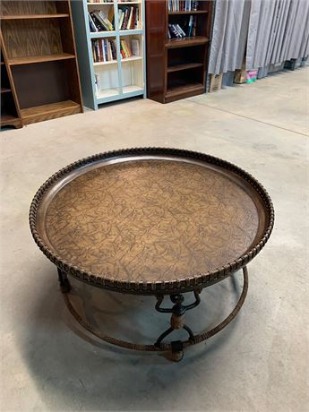 Tropical Round Wood Rope Border Coffee Table