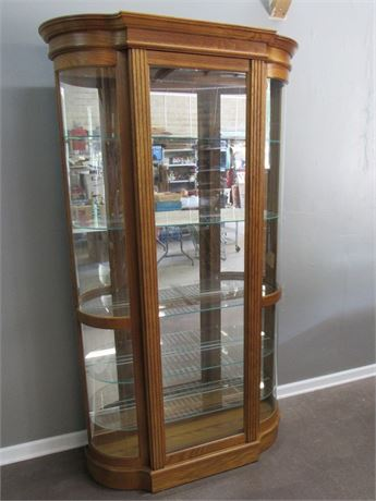 Pulski Curved Glass Display/Curio Cabinet with Mirrored Back