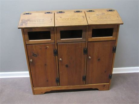 3 BIN WOOD LAUNDRY HAMPER/SORTER
