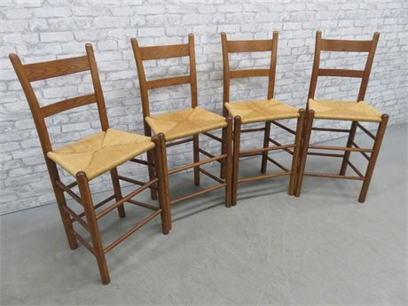 4 Rush Seat Wooden Counter Stools
