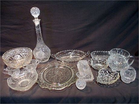 LOT OF VINTAGE CUT AND ETCHED GLASS AND CRYSTAL