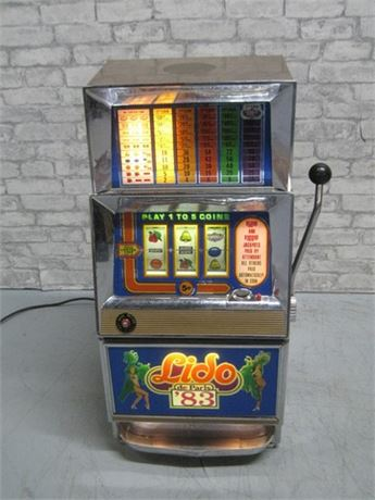 VINTAGE BALLY LIDO DE PARIS '83 ONE ARMED BANDIT SLOT MACHINE