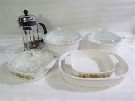 9 Piece Kitchen/Cookware Lot - Corningware